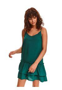 TOP SECRET - Sukienka na cienkich ramiączkach z podwójną falbaną. Kolor: zielony. Długość rękawa: na ramiączkach. Typ sukienki: koszulowe