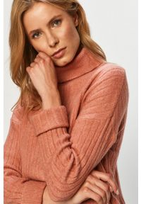 Różowy sweter Brave Soul z długim rękawem, długi, z golfem