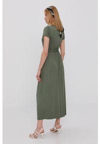 Haily's - Sukienka. Kolor: zielony. Materiał: dzianina. Długość rękawa: krótki rękaw. Wzór: gładki. Typ sukienki: rozkloszowane