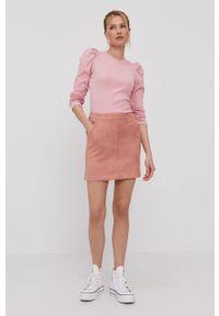 Vero Moda - Spódnica. Okazja: na co dzień. Kolor: różowy. Materiał: dzianina. Wzór: gładki. Styl: casual