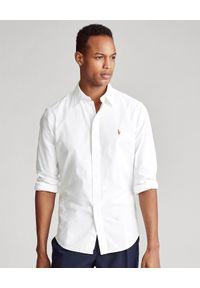 Ralph Lauren - RALPH LAUREN - Biała koszula Chambray Slim Fit. Typ kołnierza: polo. Kolor: biały. Materiał: bawełna. Wzór: haft, kolorowy. Styl: klasyczny