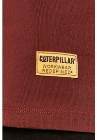 Brązowy t-shirt CATerpillar z nadrukiem, casualowy, na co dzień