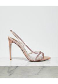 RENE CAOVILLA - Różowe sandały na szpilce. Zapięcie: pasek. Kolor: różowy, wielokolorowy, fioletowy. Wzór: paski, aplikacja. Obcas: na szpilce. Wysokość obcasa: średni