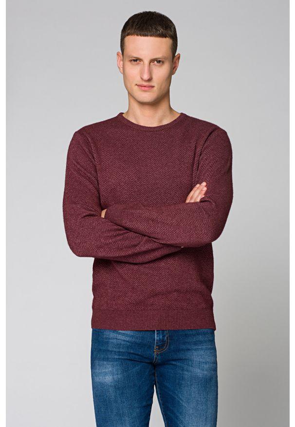 Czerwony sweter Lancerto jodełka, na jesień, do pracy, z okrągłym kołnierzem