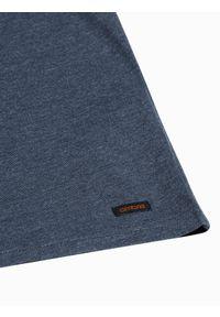 Ombre Clothing - T-shirt męski bez nadruku S1390 - granatowy - XXL. Typ kołnierza: polo. Kolor: niebieski. Materiał: bawełna, jeans, poliester