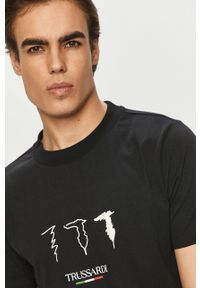 Czarny t-shirt Trussardi Jeans na co dzień, z nadrukiem, casualowy