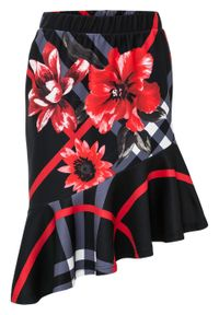 Spódnica z falbaną bonprix czarno-czerwony w kwiaty. Kolor: czarny. Wzór: kwiaty. Styl: elegancki