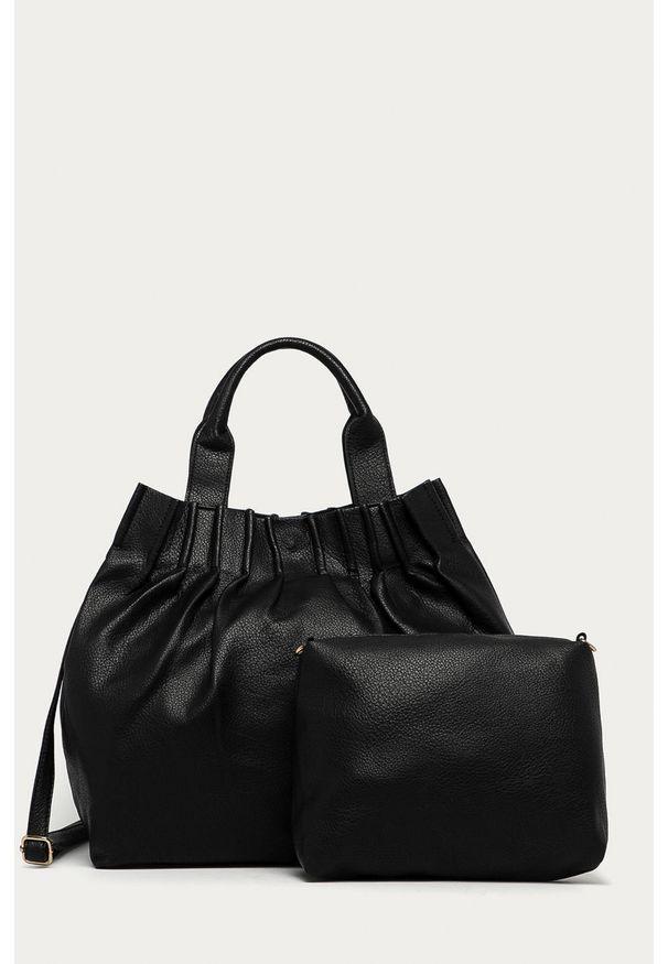 Czarna shopperka Answear Lab na ramię, wakacyjna, duża