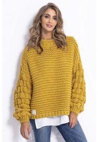Fobya - Żółty Oversizowy Półgolf z Bufiastym Rękawem. Kolor: żółty. Materiał: wełna, poliakryl
