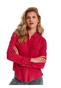 Czerwona koszula TOP SECRET w kolorowe wzory, na wiosnę, długa, z długim rękawem