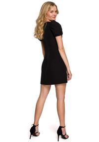 Makover - Elegancka sukienka mini krótkie bufiaste rękawy czarna. Okazja: na wesele, na ślub cywilny, na imprezę. Kolor: czarny. Styl: elegancki. Długość: mini