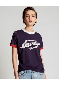 ONETEASPOON - Granatowy T-shirt Magnificent Savage. Kolor: biały. Wzór: napisy. Styl: klasyczny