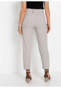 Spodnie z wysoką talią bonprix szary kamienisty. Kolor: szary