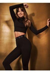 4f - Legginsy szybkoschnące damskie Anna Lewandowska x 4F. Kolor: czarny. Materiał: dzianina, satyna. Długość: do kostek. Sport: fitness