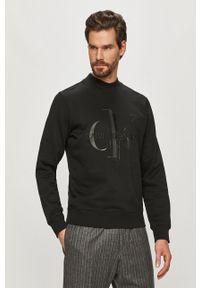 Czarna bluza nierozpinana Calvin Klein Jeans z nadrukiem, bez kaptura