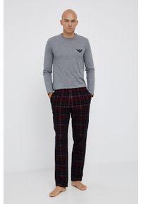Emporio Armani Underwear - Piżama. Kolor: szary. Materiał: tkanina, dzianina. Długość: długie. Wzór: aplikacja