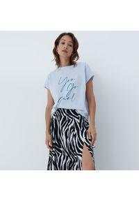 Mohito - T-shirt z nadrukiem - Niebieski. Kolor: niebieski. Wzór: nadruk