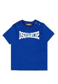 DSQUARED2 KIDS - Niebieski t-shirt z grafiką logo 0-3 lata. Kolor: niebieski. Materiał: bawełna. Sezon: lato. Styl: klasyczny