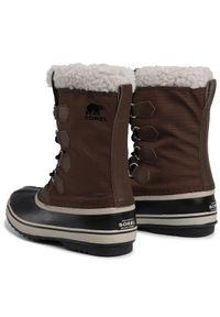 Brązowe buty zimowe sorel na co dzień, z cholewką, casualowe