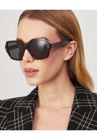 CELINE - Brązowe okulary przeciwsłoneczne. Kolor: brązowy. Materiał: materiał. Wzór: aplikacja, geometria
