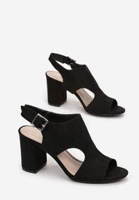 Born2be - Czarne Sandały Ethemophai. Nosek buta: okrągły. Zapięcie: klamry. Kolor: czarny. Wzór: ażurowy, geometria. Obcas: na słupku. Styl: elegancki
