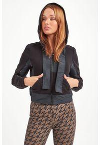 Czarna bluza Elisabetta Franchi sportowa, w kolorowe wzory