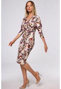 e-margeritka - Sukienka ołówkowa kopertowa z dzianiny - s. Materiał: dzianina. Typ sukienki: ołówkowe, kopertowe. Styl: elegancki