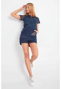 Bluza Liu Jo Sport krótka, z kapturem, z aplikacjami, z krótkim rękawem