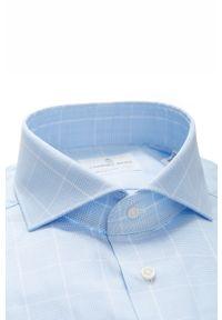 Niebieska koszula Emanuel Berg elegancka, długa, z włoskim kołnierzykiem