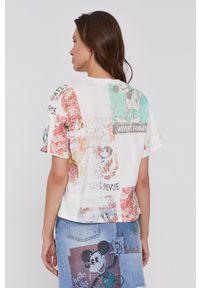 Desigual - T-shirt bawełniany x Mickey Mouse. Kolor: beżowy. Materiał: bawełna. Wzór: motyw z bajki