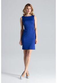 Niebieska sukienka Figl ołówkowa, bez rękawów