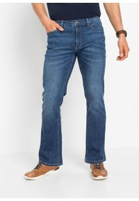 Dżinsy ze stretchem Regular Fit Bootcut bonprix niebieski denim. Kolor: niebieski