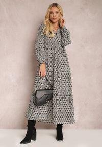 Renee - Czarna Sukienka Bolina. Kolor: czarny. Materiał: bawełna. Długość rękawa: długi rękaw. Wzór: gładki, aplikacja, geometria, nadruk. Typ sukienki: rozkloszowane. Długość: midi