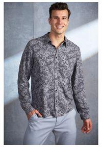 """Koszula z długim rękawem Slim Fit bonprix ciemnoniebieski """"paisley"""". Kolor: niebieski. Materiał: materiał. Długość rękawa: długi rękaw. Długość: długie. Wzór: paisley"""