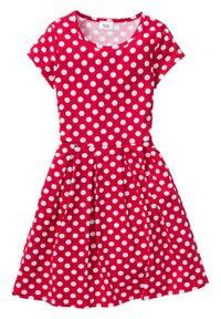 Sukienka dziewczęca shirtowa w groszki bonprix czerwono-biały w groszki. Kolor: czerwony. Wzór: grochy #1
