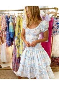 LOVE SHACK FANCY - Sukienka midi Keaton. Typ kołnierza: dekolt gorset, kokarda. Kolor: biały. Materiał: bawełna. Wzór: nadruk. Typ sukienki: gorsetowe. Długość: midi