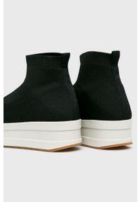 Czarne buty sportowe vagabond na średnim obcasie, na obcasie, z cholewką, z okrągłym noskiem