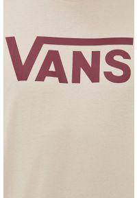 Vans - Longsleeve bawełniany. Kolor: beżowy. Materiał: bawełna. Długość rękawa: długi rękaw. Wzór: nadruk