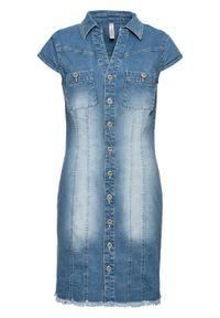 Sukienka dżinsowa mini z guzikami bonprix niebieski bleached. Kolor: niebieski. Długość: mini