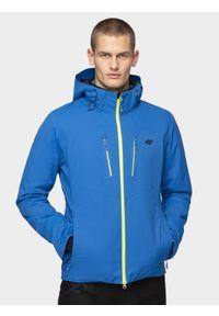 4f - Kurtka narciarska męska. Typ kołnierza: kaptur. Kolor: niebieski. Materiał: materiał, mesh, poliester. Technologia: Dermizax. Sezon: zima. Sport: narciarstwo