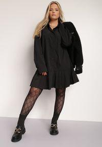 Renee - Czarna Sukienka Nemaia. Kolekcja: plus size. Kolor: czarny. Wzór: jednolity. Typ sukienki: koszulowe, dla puszystych. Długość: mini