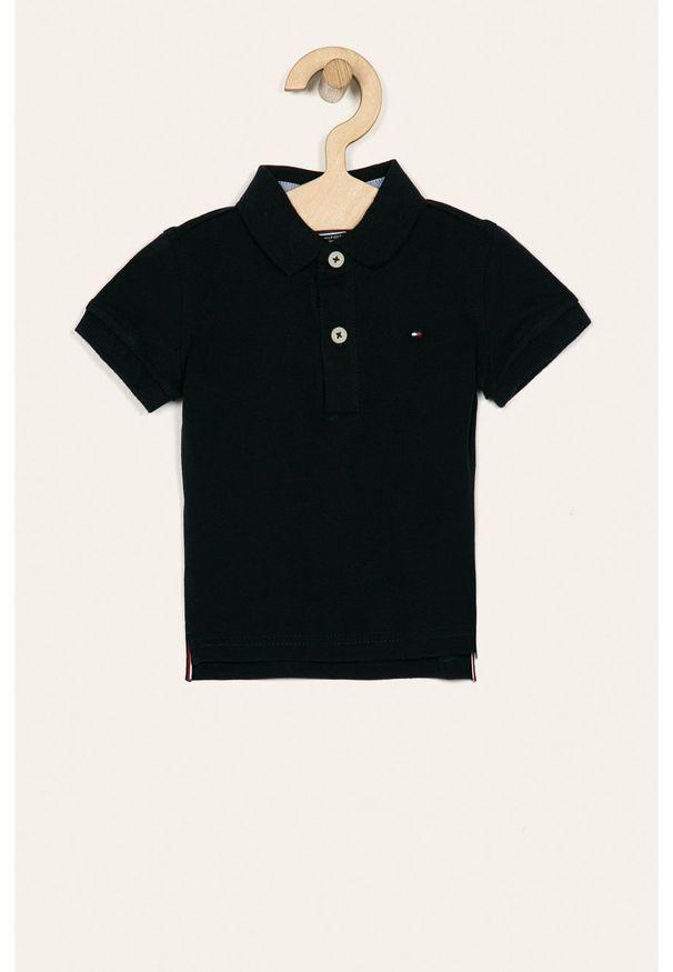 Niebieski t-shirt polo TOMMY HILFIGER krótki, polo