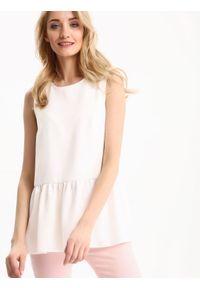 Biała bluzka TOP SECRET bez rękawów, na wiosnę, elegancka