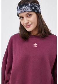 adidas Originals - Bluza. Kolor: fioletowy. Materiał: bawełna. Długość rękawa: długi rękaw. Długość: długie