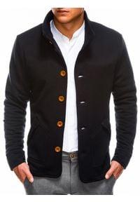 Ombre Clothing - Bluza męska rozpinana bez kaptura CARMELO - czarna - XL. Typ kołnierza: bez kaptura. Kolor: czarny. Materiał: poliester, dzianina, bawełna
