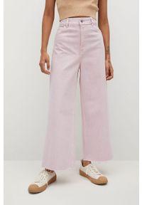 Różowe jeansy bootcut mango gładkie