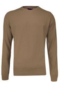 Sweter Adriano Guinari z dekoltem w serek, klasyczny, na co dzień
