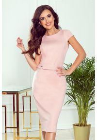Numoco - Elegancka ołówkowa sukienka midi. Materiał: materiał, elastan. Długość rękawa: krótki rękaw. Typ sukienki: ołówkowe. Styl: elegancki. Długość: midi