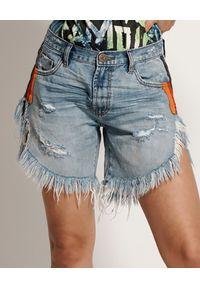 ONETEASPOON - Jeansowe spodenki Frankies. Stan: podwyższony. Kolor: niebieski. Materiał: jeans. Długość: długie. Wzór: nadruk, aplikacja, kolorowy