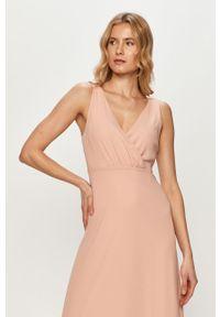 Różowa sukienka Vila rozkloszowana, gładkie